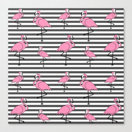 Flamingo Pattern Striped Background Canvas Print
