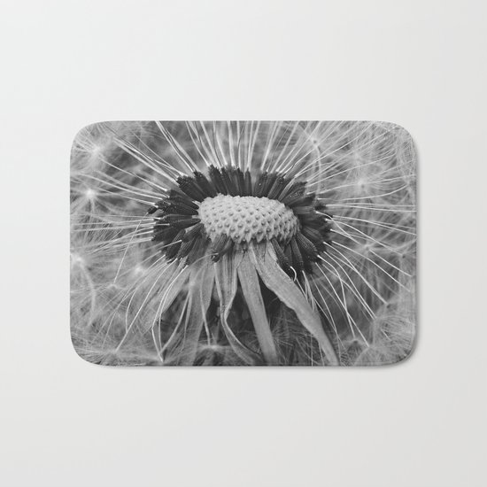 Dandelion Black and White Photography | Nature Art | Plant | Botanical | Wish Bath Mat