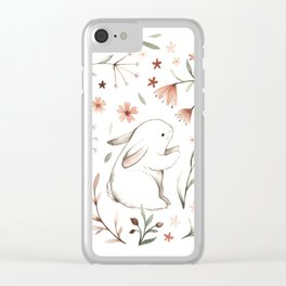 Watercolor Bunny Clear iPhone Case