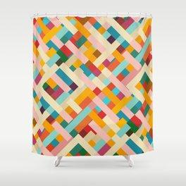 colorful retro striped Were Shower Curtain
