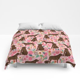 Chocolate Labrador Retriever dog floral gifts must haves chocolate lab lover Comforters