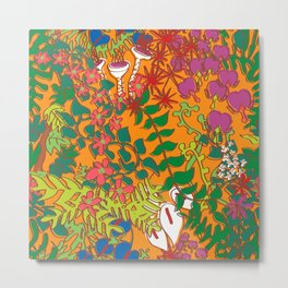 Psychedelic Vines in Mod Mango Orange Metal Print