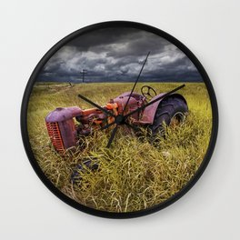 Abandoned Farm Tractor on the Prairie Wall Clock