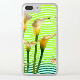 Golden Shaded Calla Lily Green Art Clear iPhone Case