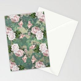 Shabby Rose Damask Pattern Stationery Cards
