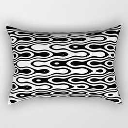 Asymmetry collection: black and white dynamic waves Rectangular Pillow
