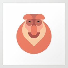 Minimalistic wildlife 17 – Proboscis monkey Art Print