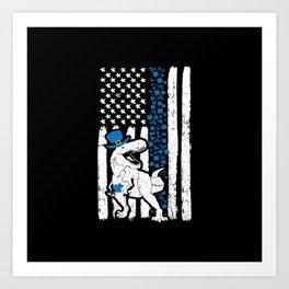 Thin Blue Line Dinosaur St Patricks Police Art Print