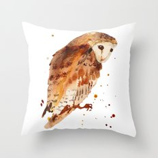 Owl, barn owl, woodland birds, harry potter wannabe gift, brown owl, watercolor owls Throw Pillow