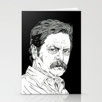 ron swanson Stationery Cards featuring Ron Swanson by Andy Christofi