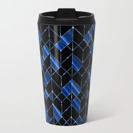 Black, blue geometric pattern. Travel Mug