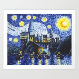 Starry Night At Hogwarts Art Print