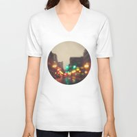 portland V-neck T-shirts featuring Portland In The Rain by Laura Ruth