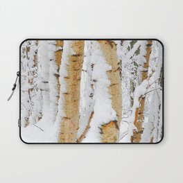 Snow Covered Birch Trees Laptop Sleeve