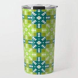 Green Detailed Geometric Digital Pattern Travel Mug