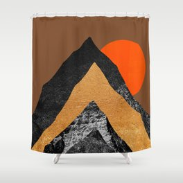 Abstraction_SUN_Mountains_Peak_Minimalism_001 Shower Curtain