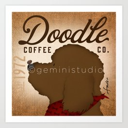 Doodle Coffee Company goldendoodle labradoodle artwork by Stephen Fowler Art Print