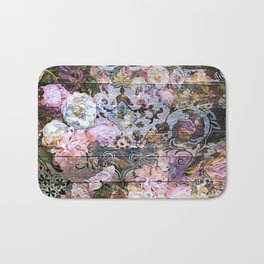 Shabby Chic floral rococo woodpanel Bath Mat