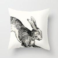 hare Throw Pillows featuring HARE by Riku Ounaslehto