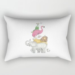 A Stack Of Animals with elephant, lion, flamingo, monkeys and snake Rectangular Pillow