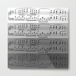 MUSIC IN GRADIENTS OF GREY - OMBRES OF GRAY - MUSICALS MONOCHROME #septcho19 Metal Print
