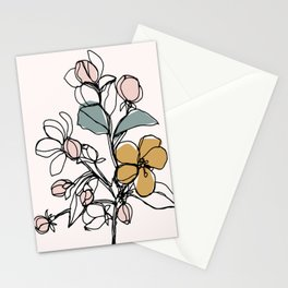 Petals and Leaves, Line Drawing with Pops of Color Stationery Cards
