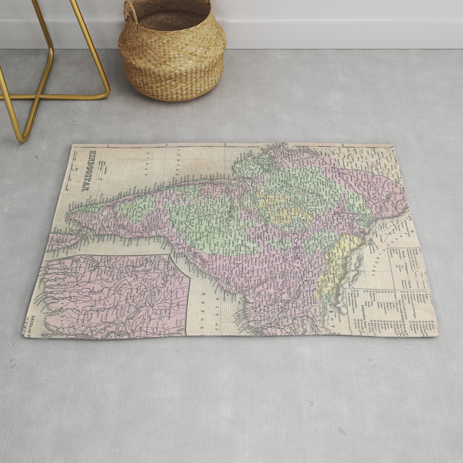 Vintage Map of India (1853) Rug by
