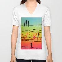 telephone V-neck T-shirts featuring telephone birds by Jared Haberman
