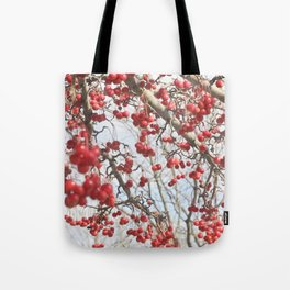 Choking Cherry Tree Photograph Red Berries with Blue Sky Tote Bag