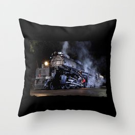 Oiling the Running Gear.  UP 4014. Union Pacific. Steam Train Locomotive. Big Boy. © J. Montague. Throw Pillow