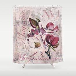 Vintage Magnolia flower illustration Shower Curtain