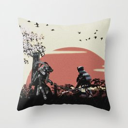 Black and white samurais Throw Pillow