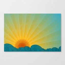 Vintage Ocean Sunset Canvas Print