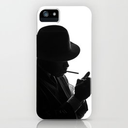 Silhouette of private detective in old fashion hat lights a cigarette iPhone Case