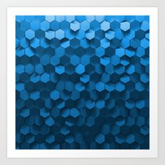Blue hexagon abstract pattern Art Print