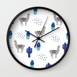 Llama Cactus Wall Clock