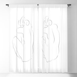 one line minimalist woman body inspired by picasso Blackout Curtain