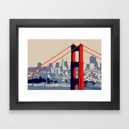 Golden gate bridge vector art Framed Art Print