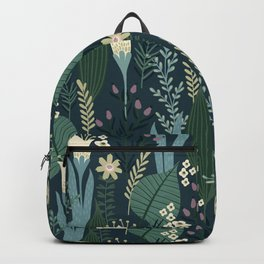 Wonderful Mid-Century Style Evening Lily And Wildflower Pattern Backpack