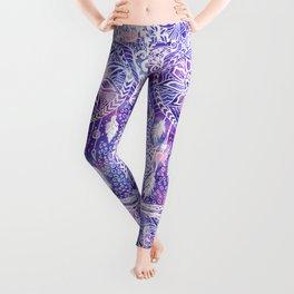 Boho doodles dreamcatcher floral pink purple watercolor Leggings