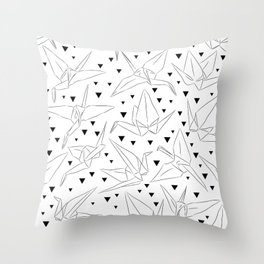 Japanese Origami white paper cranes sketch, symbol of happiness, luck and longevity Throw Pillow