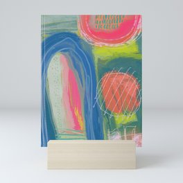Shapes and Layers no.27 - Abstract Painting gouache and pastels Mini Art Print