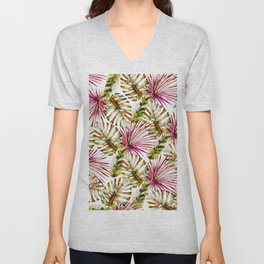 Modern tropical hot pink green watercolor palm tree Unisex V-Neck