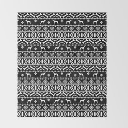 Whippet fair isle dog breed pattern christmas holidays gifts dog lovers black and white Throw Blanket