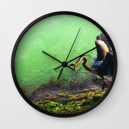 Great Blue Heron with Herring Wall Clock