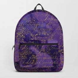 Modern Purple Ink Wash Abstract With A Grunge Gold Writing Overlay Backpack