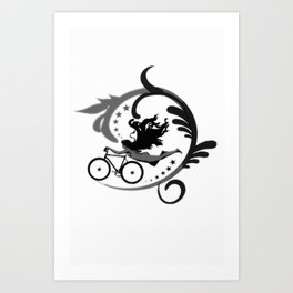 Star Girl Bike Swirl Art Print