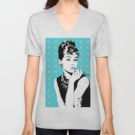 Audrey Hepburn as Holly Golightly with diamond background Unisex V-Neck