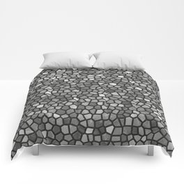 Faux Stone Mosaic in Darker Grays Comforters