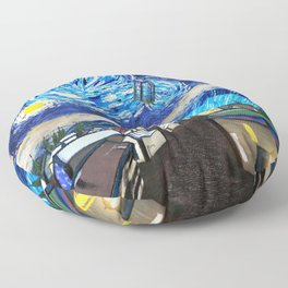 Tardis Art Starry City Night Floor Pillow